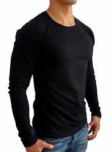 832c2e283ee NEW MENS PLAIN BLACK LONG SLEEVE T SHIRT SLIM FIT CASUAL GYM FASHION ...
