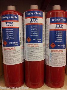 Propane Rouge Jetables Cylindre De Gaz Bouteille 400g Ttp Gb X 3