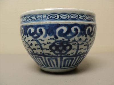 """19. C Chinesisch Export Blau & Weiß Porzellan 4.5 """" Hoch Schale"""