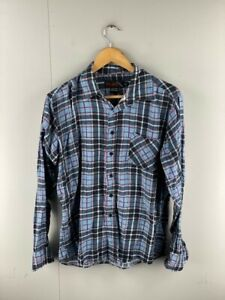 Molokai Mens Blue Check Vintage Long Sleeve Collared Button Up Shirt Size Large