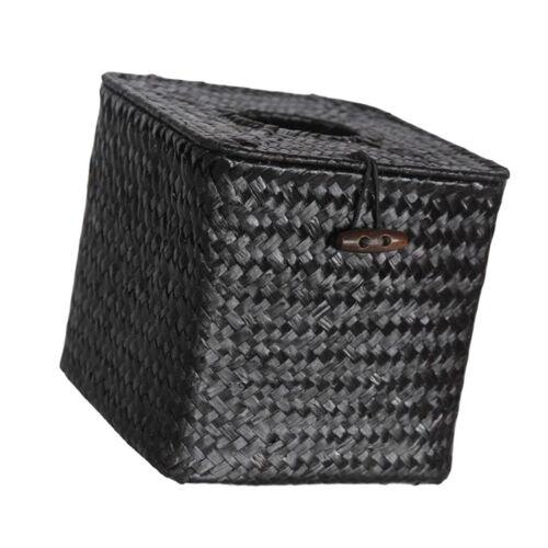 Woven Paper Towel Napkin Holder Box Tissue Cover Car Kitchen Office Black