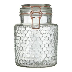 Apiary Large Jar Rose Gold Honeycomb Storage Airtight Clip Top Food Canister New