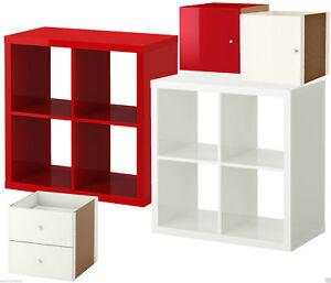 Details Zu Ikea Kallax Regal Hochglanz Rot Weiss 4 Fach Tur Schublade Ehem Expedit