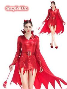 Ladies-Red-Devil-Mistress-Metallic-Costume-Halloween-Fancy-Dress-Outfit-Horns