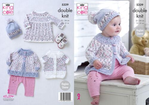 King Cole Baby DK Knitting Pattern Raglan Sleeve Dress Coat Cardigan Hat 5329