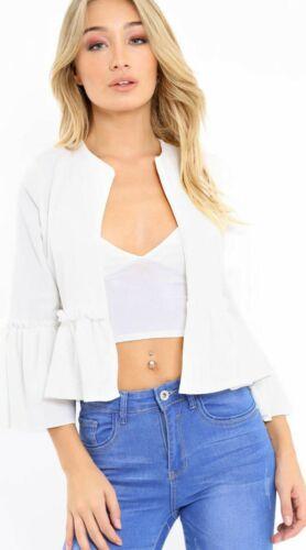 Womens Ladies Ruffle Frill Bell Sleeve Blazer Jacket Coat Top Size UK 8-26
