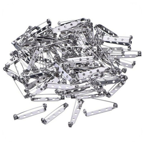 50pcs 20//25//32//38mm Brooch Back Bar Pins Safety Catch Broach Badge Tools Set US
