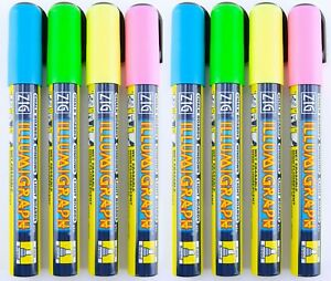 Zig Illumigraph Posterman High Fluorescent Chalk Markers Wet-Wipe Broad 6mm 8 pc