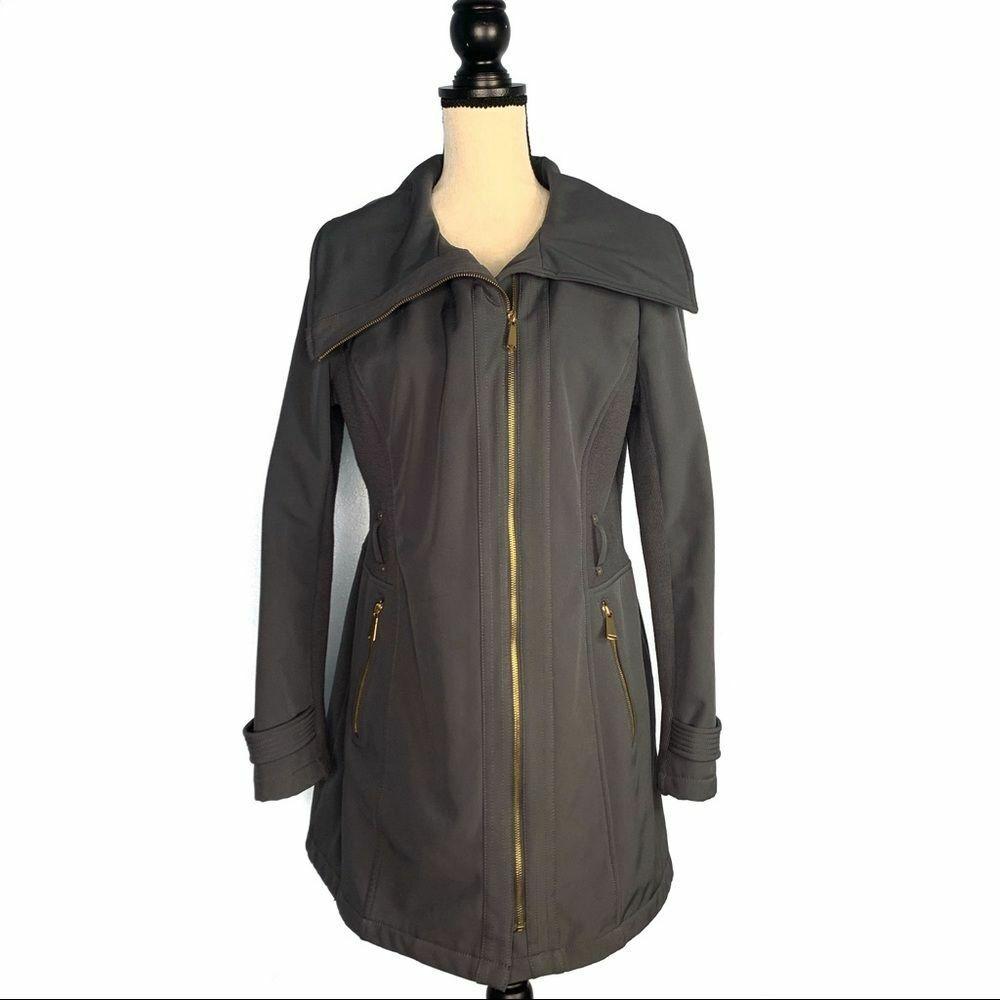 Avanti Dark Gray with Gold Zipper Side Knit Jacket Women's Medium