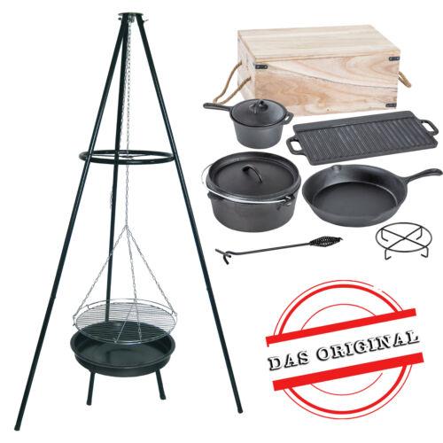 Dreibein Topf Holzkiste ACTIVA Schwenkgrill Grill Dutch Oven Set Pfanne