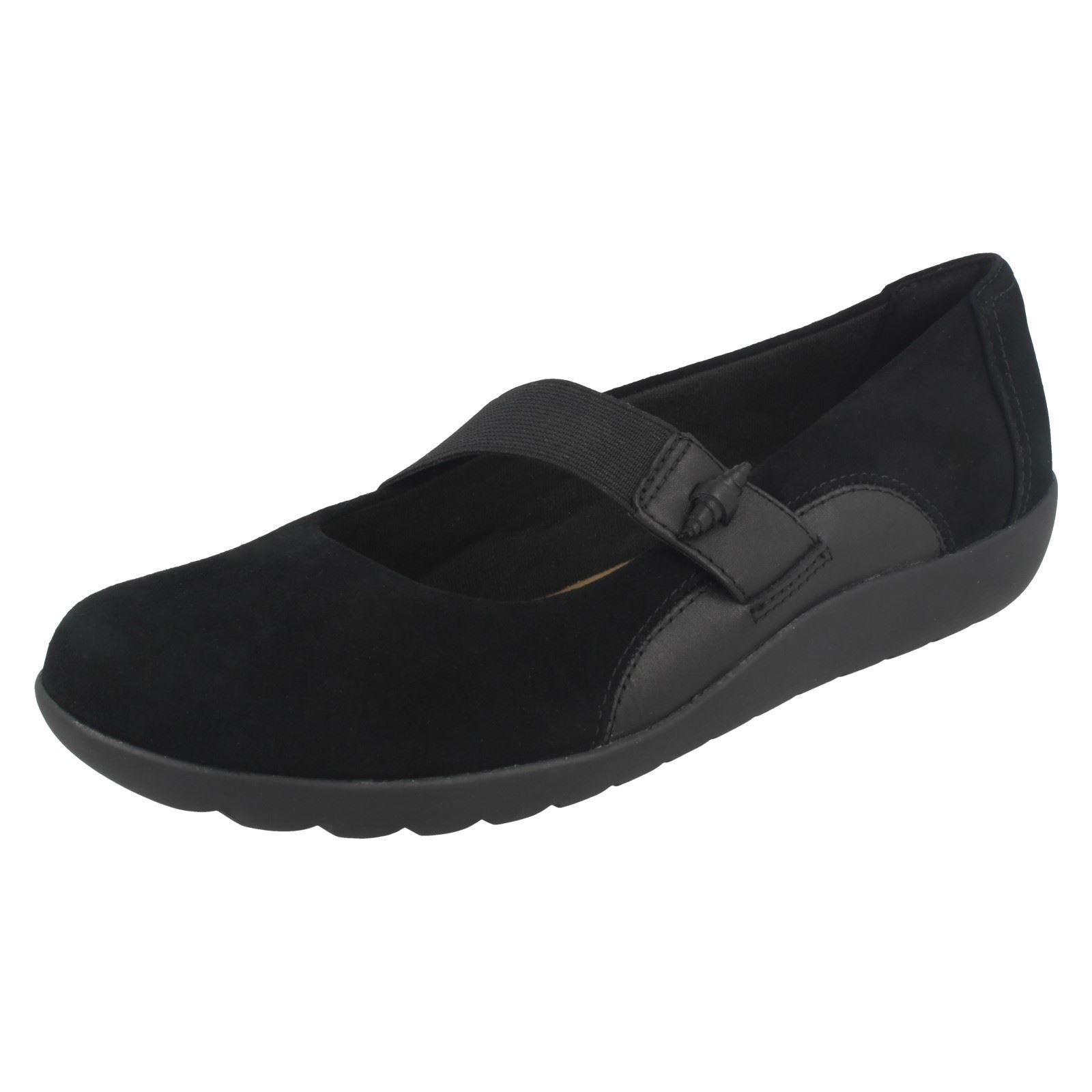 Clarks DA DONNA MEDORA Frost scarpe casual nere camoscio Cinghia Elastica