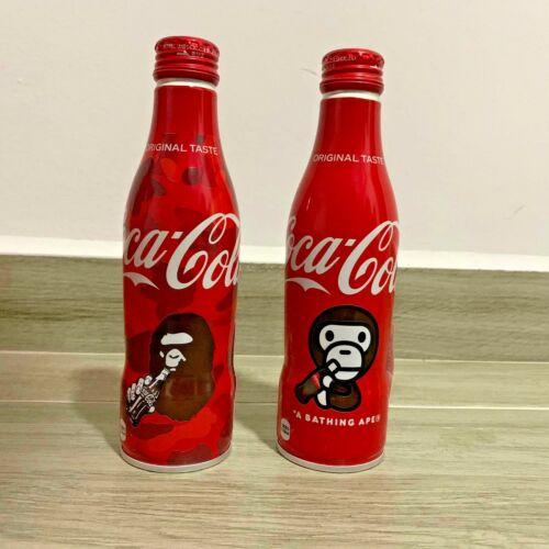 EMPTY Baby Milo A Bathing Ape BAPE x Coca-Cola Coke Set of 2 Bottles Japan