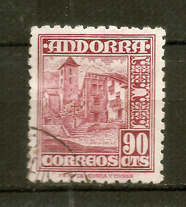 Andorra-Spanish-Post-1948-90-Centims-Used