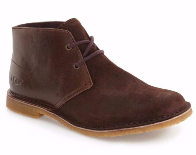 38754a1afb5 UGG Australia Mens Leighton Chukka Leather Shearling Boot Shoe Brown Sz 9 EW