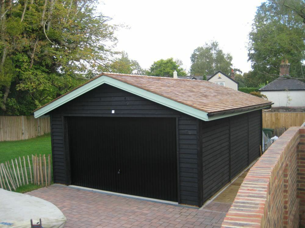 Black Painted Feather Edge Boards Fence Panels Cladding