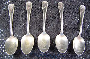 Vtg Antique? Set/5 Silver Spoons Famous Norwegian Faces Bjørnson Nansen Norway