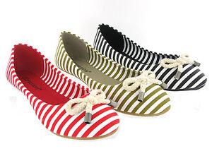 New-Womens-Girls-Soft-Flat-Canvas-Ballerina-Stripe-Pumps-Shoes-Size-3-8-UK