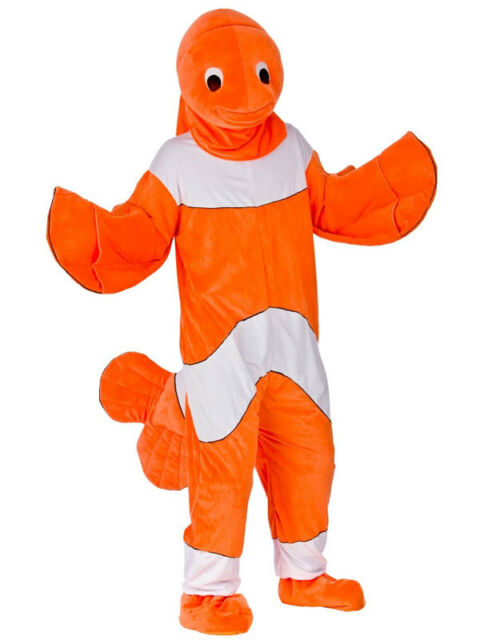 Orange Clown Fish Mascot Fancy Dress Up Halloween All In One Costume Outfit New