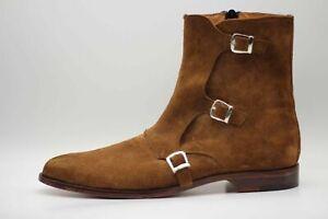 9c7977d282a Men's Bespoke Handmade Genuine Brown Suede Triple Buckle Monk Zipper ...