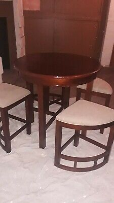 5 Piece Broyhill Mirren Pointe Round Counter Dining Table Stools Set In Brown Ebay