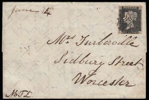 SG2-1841-1d-Black-plate-2-GI-on-cover-Honiton-to-London-and-Worcester