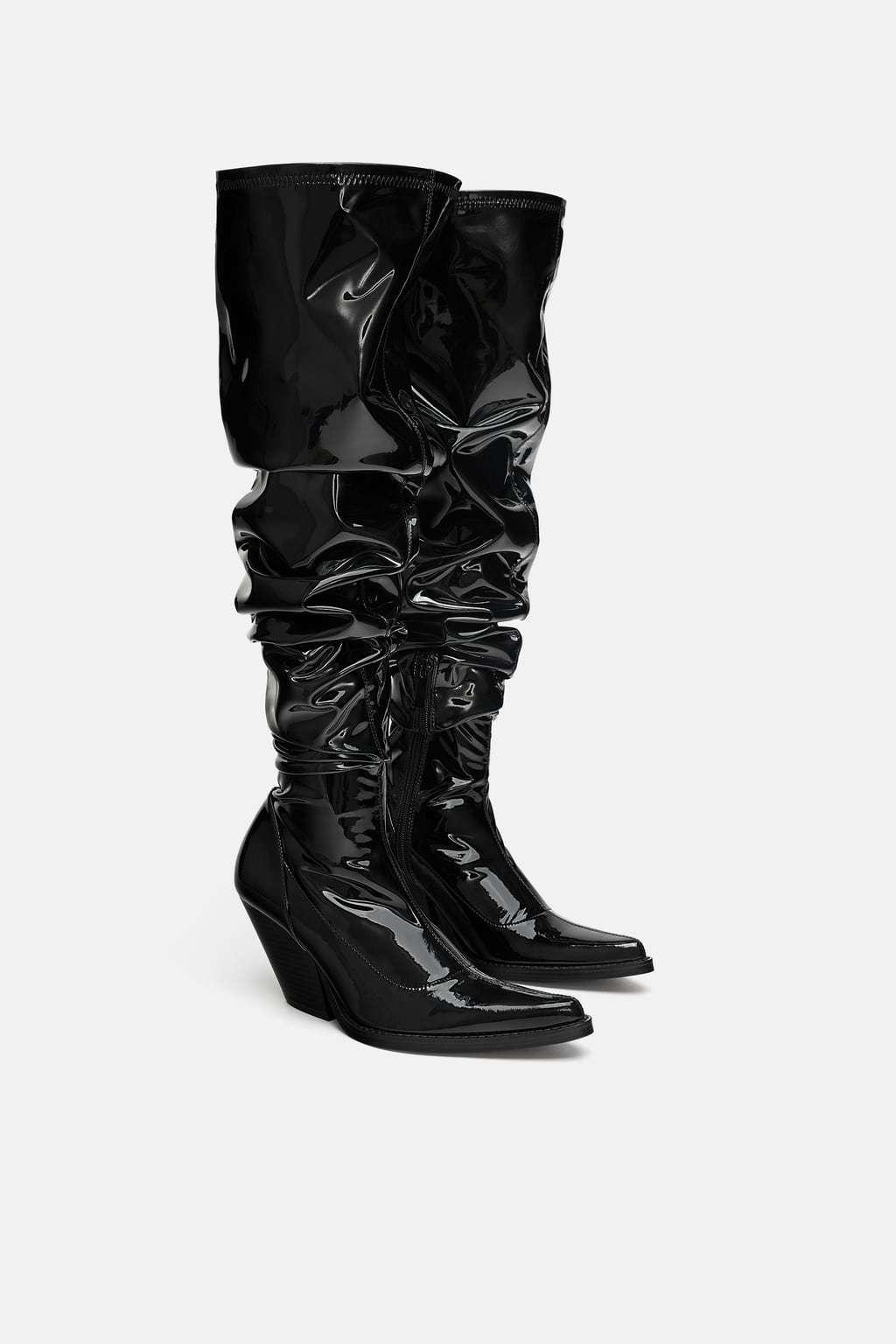 Zara nuevo AW18 AW18 AW18 XL botas De Vaquero Imitación Patente acabado negro todas las tallas ref. 7004 301 8f8c09