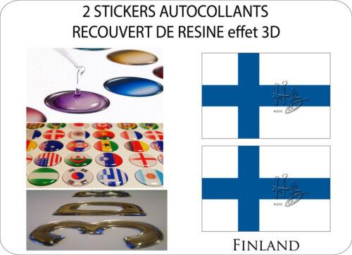 2 X STICKERS RECOUVERT DE RESINE DRAPEAU EFFET 3D 70 mm X 50 mm FINLAND