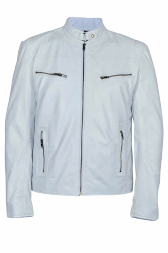 Deluxe Men/'s Racer Real White Soft Nappa Leather Classic Biker Stylish Jacket