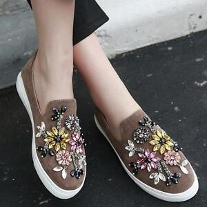 Womens Flats Flower Rhinestone Slip On Loafers Casual Boat Shoes Khaki US8 NEW