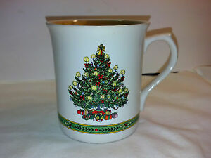 Four Russ Berrie Vintage Christmas Tree Cup/Mugs Candles Ribbons Gifts-Excellent
