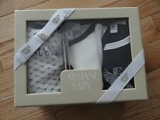 Armani Baby Boys Long Sleeve Bodysuits Rompers 3 Pack Gift Box 9M 9 Months $155