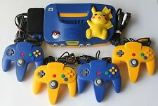 Nintendo 64 Pokemon Pikachu Console System w/ 4 OEM Controllers TESTED Rare Kids