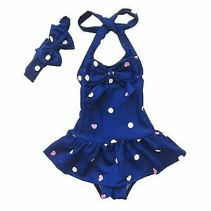 Polka-Dots-Girls-Swimsuit-With-Headband-One-Piece-Halter-Neck-Kids-Bathing-Suit