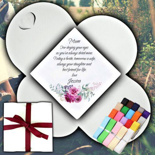 Mère de la mariée personnalisé mouchoir Faveur Cadeau Fleurs de Mariage Rose