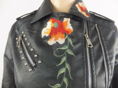 14 NEW WOMENS FLORAL EMBROIDERED FAUX LEATHER BIKERS JACKET BLACK UK8,10