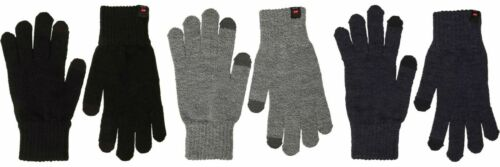 JACK AND JONES Mens Knit Gloves DNA One Size NEW Navy Touch Screen Fingertip