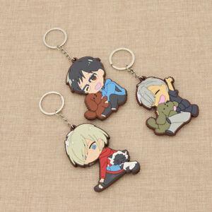 Anime Yuri On Ice Victior Yuri Rubber Keychain Key Ring Cute Anime Key charms