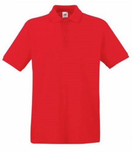 * Manches Courtes Piqué Polo Shirt Neuf Fruit of the Loom Hommes 100/% Premium Coton
