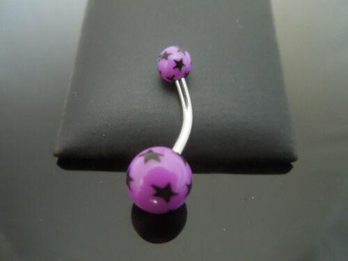 Piercing Banana Bar 316l Acero Quirúrgico Con Acrílico Uv Impresión estrellas púrpura