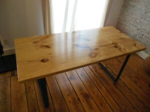 Details about Industrial Thick Pine Slab Dining Kitchen Table / Wrought  Iron Legs Base 66 x 30