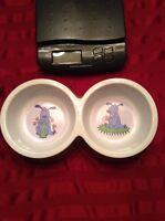Nantucket Ceramic Dual Dog Bowl Dish Dog Feeder For Meduim Dogs Around 50lb