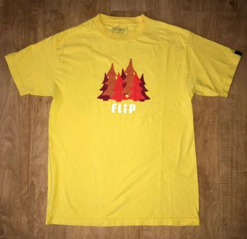 VINTAGE FLIP SKATEBOARDS TREES YELLOW T SHIRT TEE