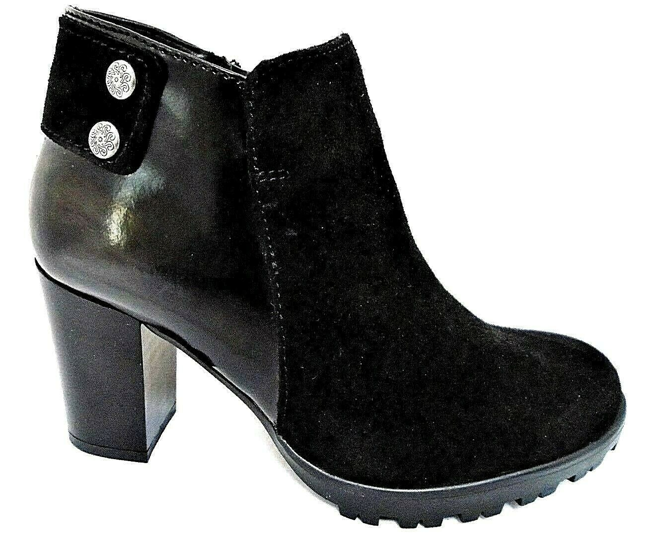 AEROS FABIA LADIES BLACK SUEDE & PATENT LEATHER ANKLE BOOTS WOMENS UK 8 - EUR 41