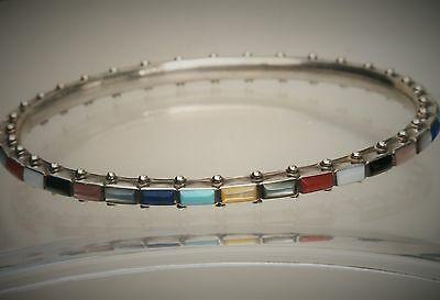 Southwest Ernest Vivnita Bewanika Zuni Silver Multi-Color Stone Bangle Bracelet