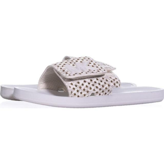 aee3f5618d7d Michael Kors Women s Laser Perforated Star Slide Sandals Ab4 Vanilla Size 7m