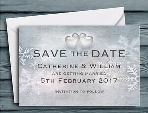 save the date cards snowflakes and hearts winter wedding