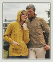"Lady's Jacket with Hood and Sweater Knitting Pattern in DK 32-42"" mens 985"