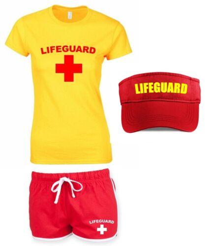 LIFEGUARD Ladies Outfit 6-16 Fancy Dress Costume T-Shirt Shorts Visor Pack Set