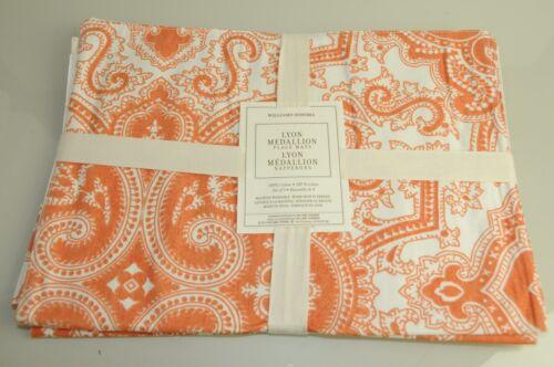 NEW WILLIAMS SONOMA LYON MEDALLION ORANGE Tangerine WHITE PLACE MATS SET of 4