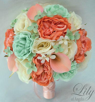 17 Piece Package Silk Flower Wedding Bridal Bouquet Mint Green Ivory Coral Peach Ebay